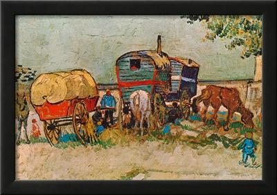 Caravans Encampment of Gypsies Print by Vincent van Gogh