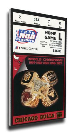 1998 NBA Finals Mega Ticket - Game 4 - Chicago Bulls Stretched Canvas Print