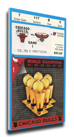 Chicago Bulls 1999 Opening Night / Banner Raising Mega Ticket Stretched Canvas Print