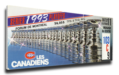 1993 NHL Stanley Cup Mega Ticket - Montreal Canadiens Stretched Canvas Print