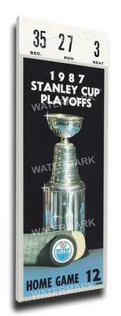 1987 NHL Stanley Cup Mega Ticket - Edmonton Oilers Stretched Canvas Print