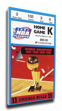 1997 NBA Finals Mega Ticket - Game 2 - Chicago Bulls Stretched Canvas Print
