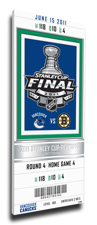 2011 NHL Stanley Cup Final Commemorative Mega Ticket - Vancouver Canucks Stretched Canvas Print