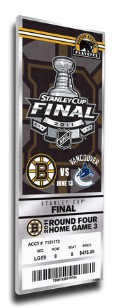 2011 NHL Stanley Cup Final Commemorative Mega Ticket - Boston Bruins Stretched Canvas Print