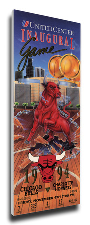 United Center Inaugural Game Mega Ticket - Chicago Bulls Stretched Canvas Print