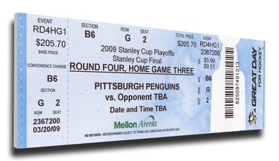 2009 NHL Stanley Cup Mega Ticket - Pittsburgh Penguins Stretched Canvas Print