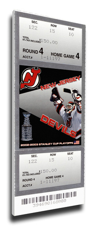 2003 NHL Stanley Cup Mega Ticket - New Jersey Devils Stretched Canvas Print