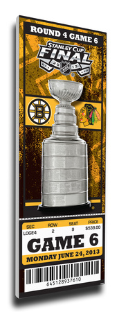 2013 NHL Stanley Cup Final Mega Ticket - Boston Bruins Stretched Canvas Print