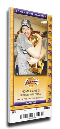 2010 NBA Finals Mega Ticket - Game 2, Gasol - Los Angeles Lakers Stretched Canvas Print