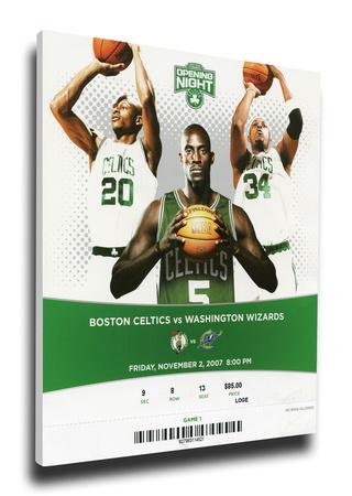 Garnett, Pierce, Allen First Game Together Mega Ticket - Boston Celtics Stretched Canvas Print