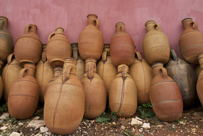 Morocco, Atlas Mountain. Pottery for Sale Along the Road Photographic Print by Michele Molinari