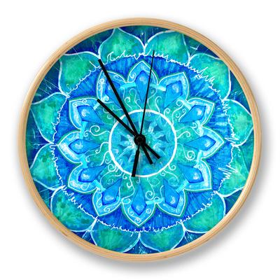 Abstract Blue Painted Picture with Circle Pattern, Mandala of Vishuddha Chakra Ur