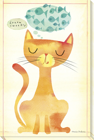 Dream Sweetly Cat Stretched Canvas Print by Maria Carluccio