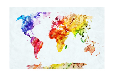 Watercolor World Map. Colorful Paint on White Paper. HD Quality Poster by PHOTOCREO Michal Bednarek