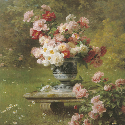 Peonies in a Wild Garden (detail) Giclee Print by Louis-Marie Lemaire