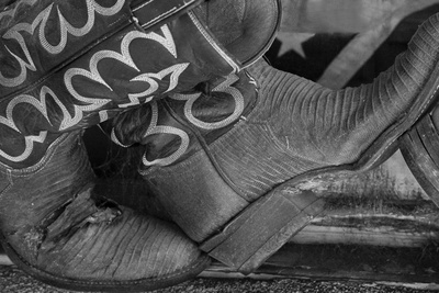 Cowboy Boots BW I Photographic Print by Kathy Mahan
