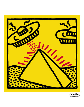 Untitled, 1984 (pyramid with UFOs) Prints by Keith Haring