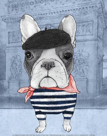 French Bulldog with Arc de Triomphe Prints by  Barruf