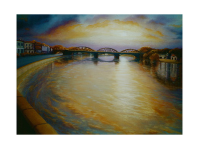 Barnes Bridge, 2006 Thames River Sunset Giclee Print by Lee Campbell