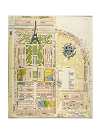 Plan Général: Exposition Universelle de 1889 Giclee Print by Fr. Becker