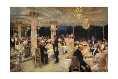 Armenonville, le soir du Grand Prix de Longchamp Giclee Print by Henri Gervex