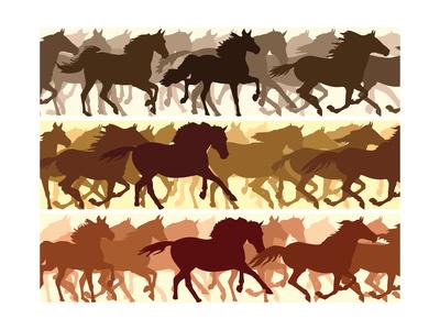 Horizontal Illustration Herd of Horses. Print by  Vertyr