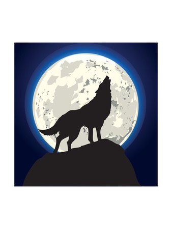 Detailed Illustration of a Howling Wolf in Front of the Moon, Eps 10 Vector Art by  unkreatives