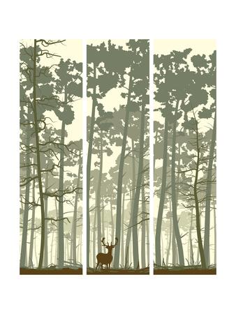 Vertical Banners of Deer in Coniferous Wood. Posters by  Vertyr