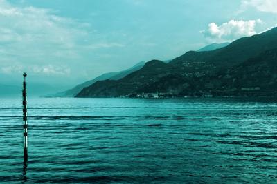 Buoy in Lake Como Near Bellagio Italy Photo