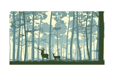 Abstract Illustration of Wild Animals in Wood. Prints by  Vertyr