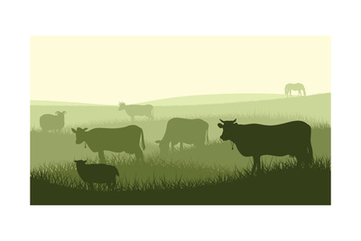 Horizontal Illustration of Farm Pets. Prints by  Vertyr