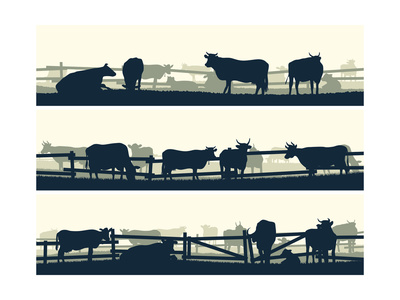 Horizontal Vector Banner Farm Fields with Fence and Farm Animals. Prints by  Vertyr