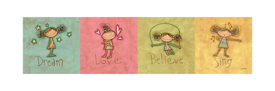 Dream, Love Believe and Sing Panel Posters by Anne Tavoletti