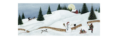 Christmas Valley Snowman Poster by David Carter Brown