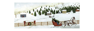 Christmas Valley Sleigh Prints by David Carter Brown