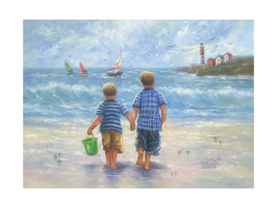 Two Little Beach Boys Walking Print by Vickie Wade