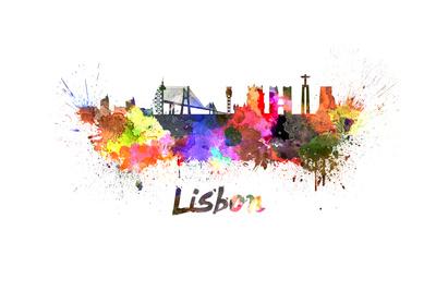 Lisbon Skyline in Watercolor Prints by  paulrommer