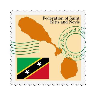 Stamp with Map and Flag of Saint Kitts and Nevis Prints by  Perysty