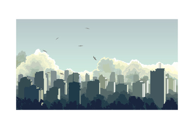 Illustration of Big City in Blue Tone. Prints by  Vertyr