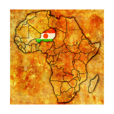 Niger on Actual Map of Africa Posters af  michal812