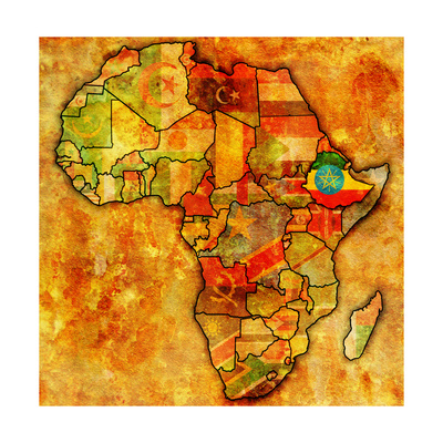 Ethiopia on Actual Map of Africa Posters by  michal812