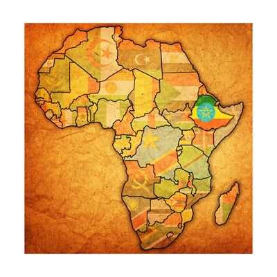 Ethiopia on Actual Map of Africa Art by  michal812