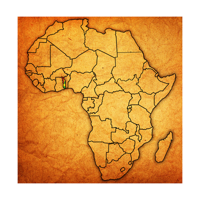Togo on Actual Map of Africa Prints by  michal812