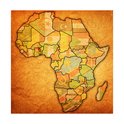 Togo on Actual Map of Africa Print by  michal812
