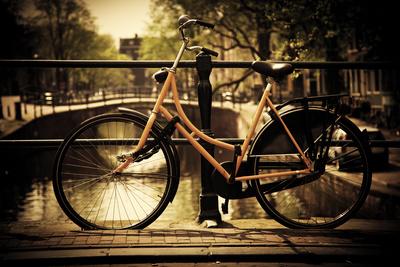 Amsterdam, Holland, Netherlands. Romantic Canal Bridge, Retro Bike. Old Town Photographic Print by PHOTOCREO Michal Bednarek