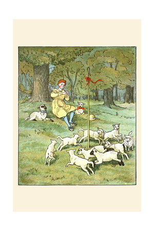 Shepherd Lays His Flute for Lambs Posters by Randolph Caldecott