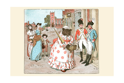 She Bear in Human Clothes Walks Down the Street Passed Soldiers Prints by Randolph Caldecott