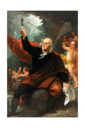 Benjamin Franklin Drawing Electricity from the Sky Poster by Benjamin West