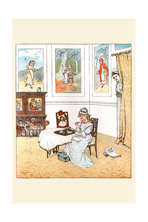Queen Was in the Parlor Eating Bread and Honey Print by Randolph Caldecott