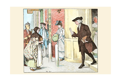 Mrs. Mary Blaize Is Given a Good Morning from a Gentleman Leaving His Home Prints by Randolph Caldecott